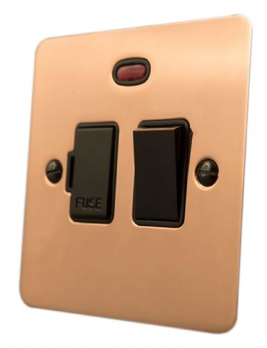 G&H FBC27B Flat Plate Bright Copper 1 Gang Fused Spur 13A Switched & Neon